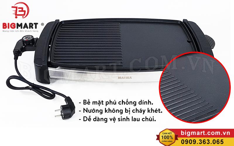 Bề mặt bếp nướng phủ lớp chống dính