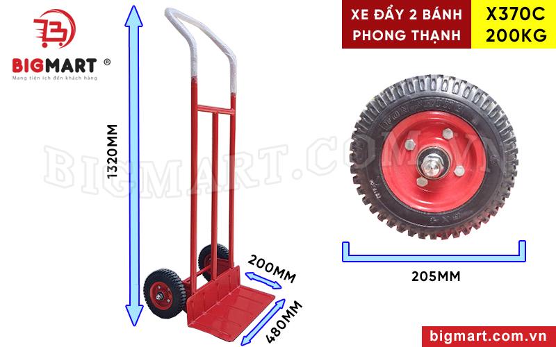 Kích thước tổng thể xe đẩy 200kg Phong Thạnh