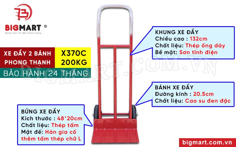 Thông số xe đẩy hàng 200kg Phong Thạnh 2 bánh X370C