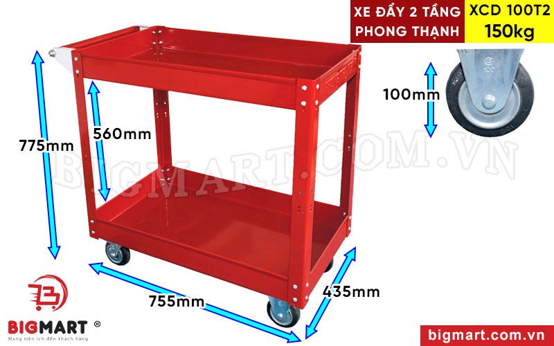 Thông số kích thước xe đẩy 2 tầng XCD 100T2