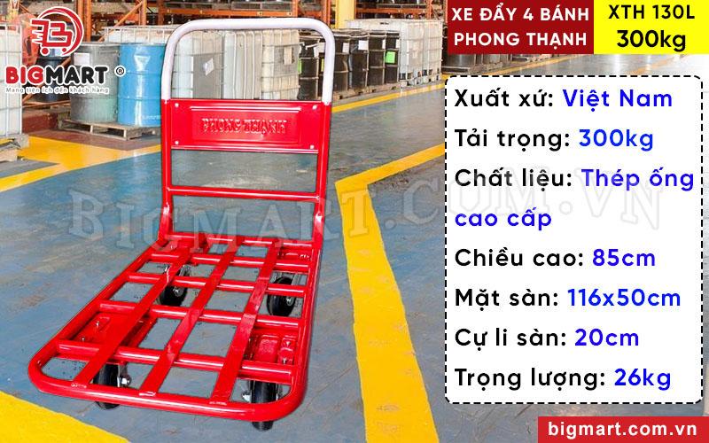 Xe đẩy tay Phong Thạnh 300kg XTH 130L